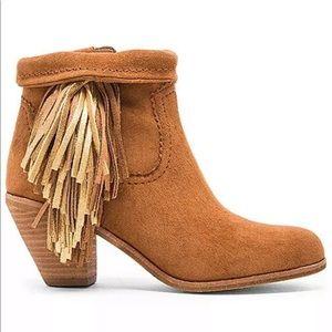 Sam Edelman LOUIE Gold Fringe Ankle Boots 8M